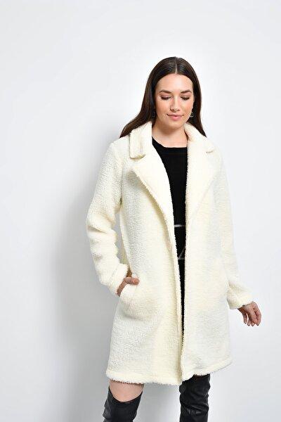 Kadın Beyaz Cepli Peluş Kaban HN2296