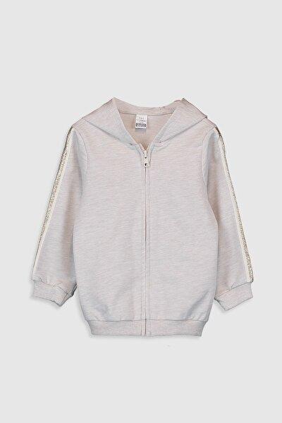 Kız Bebek Bej Melanj D2Y Fermuarlı Sweatshirt