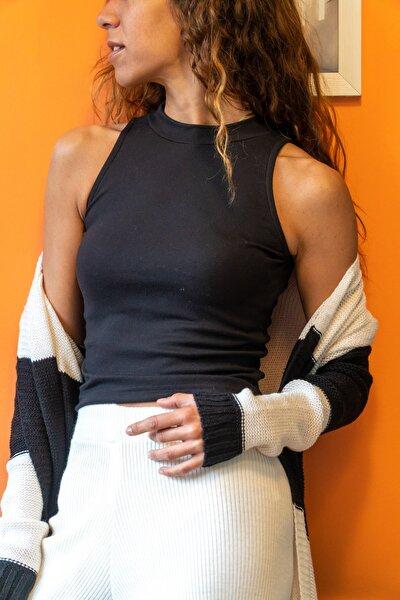Kadın Siyah Kolsuz Yarım Balıkçı Crop Bluz GK-CCK14004