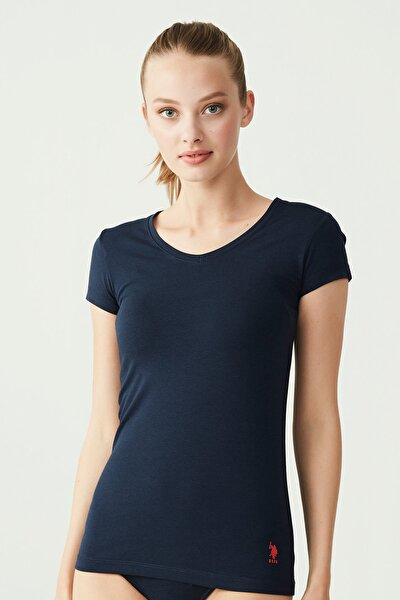 Kadın Lacivert T-shirt Kısa Kollu V Yaka USB66004