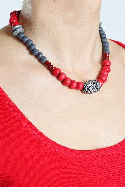 Kadın Kırmızı-gri Kolye Lpkly15015