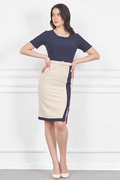 Çift Renkli Kemerli Şık Ofis Elbise