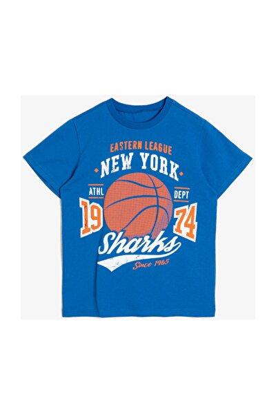 Erkek Çocuk Mavi Yazili Baskili T-shirt 0YKB16195OK