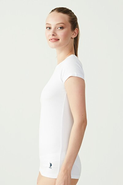 Kadın Beyaz O Yaka Kısa Kol T-shirt US.B1.66002