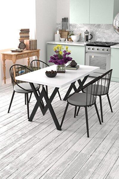 Eylül 4 Kişilik Mutfak Masası Takımı Beyaz Gri