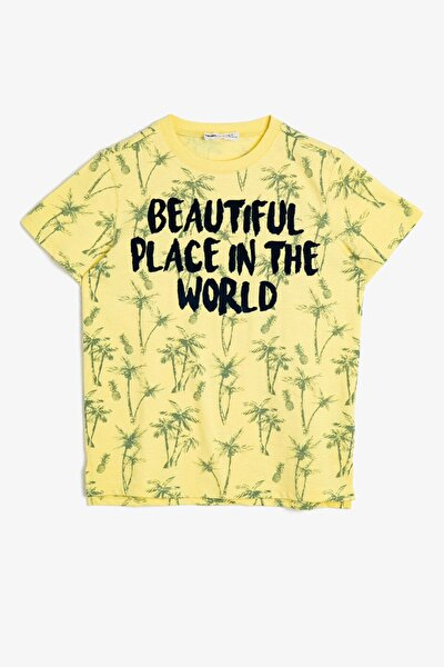 Sarı Yazılı Baskılı Çocuk T-shirt 0YKB16448TK