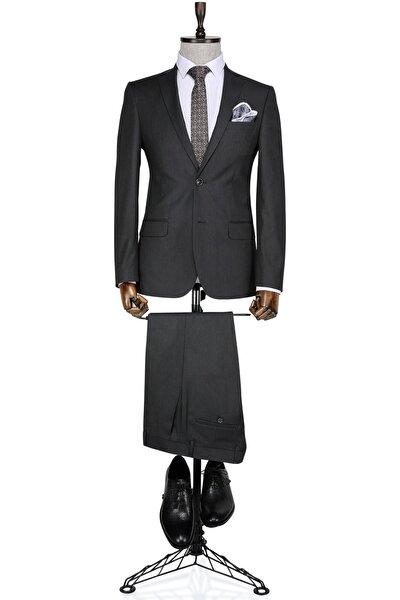 Slim fit Füme Erkek Takım Elbise
