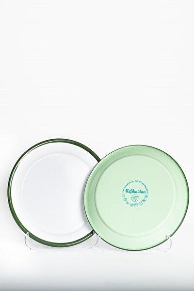Yeşil Kordonlu Emaye Tabak - 25 cm