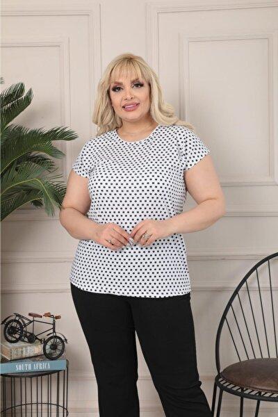 Kadın Büyük Beden Bisiklet Yaka Beyaz Siyah Küçük Puantiyeli Kısa Kol T.shirt