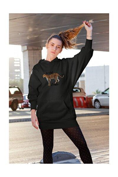 Wear Wild Side Leopar Siyah Kadın Kapüşonlu Sweatshirt Çanta Kombin