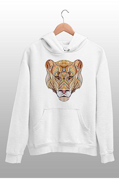 Wear Motifli Kaplan Beyaz Kadın Kapüşonlu Sweatshirt Çanta Kombin