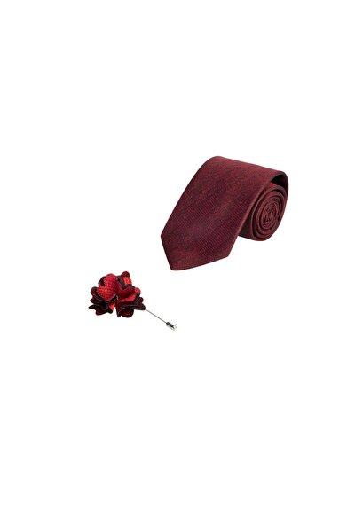 Erkek Kırmızı 2'li Kravat Yaka İğnesi Set