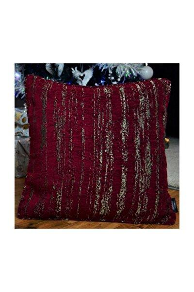 Yastık Kılıfı  Bordo Geometrik Desenli Dokuma Kumaş Dekoratif Kare Kırlent 49cm X 49cm