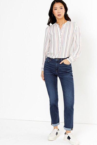 Kadın Lacivert Relaxed Slim Jean Pantolon T57008673