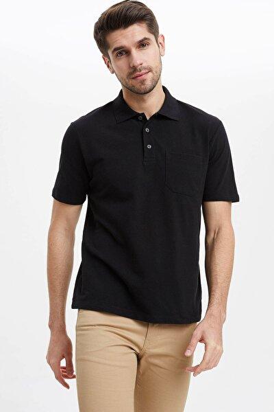 Erkek Siyah Oversize Fit Polo Yaka Basic Kısa Kollu Siyah Tişört M7726AZ20SPBK