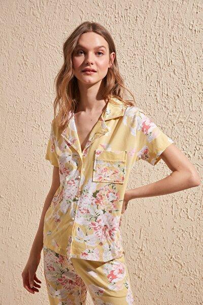 Sarı Çiçek Desenli Örme Pijama Takımı THMSS20PT0063