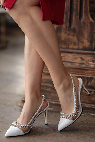 Naomi Beyaz Taşlı Stiletto