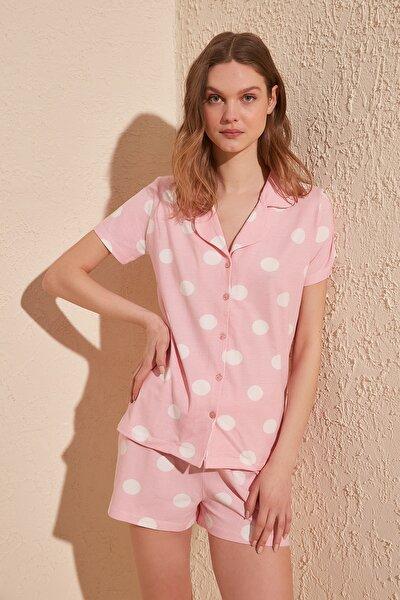Pembe Puantiyeli Örme Pijama Takımı THMSS20PT0077