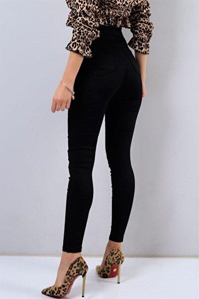 Kadın Siyah Likralı Solmayan Yüksek Bel Skinny Pantolon