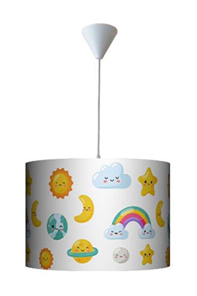 Renkli Emojili Yıldızlı Bulutlu Çocuk Odası Avizesi