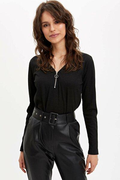 Kadın Siyah Fermuar Detaylı Uzun Kollu T-Shirt N7310AZ.20SP.BK27