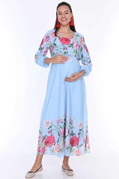 Hamile Çiçek Desenli Şifon Elbise Mavi