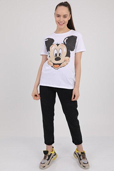 MD trend Kadın Beyaz Mickey Baskılı Bisiklet Yaka T-Shirt Mdt3267