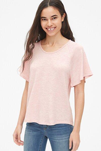 Kadın Softspun Kolları Volanlı T-Shirt 469044