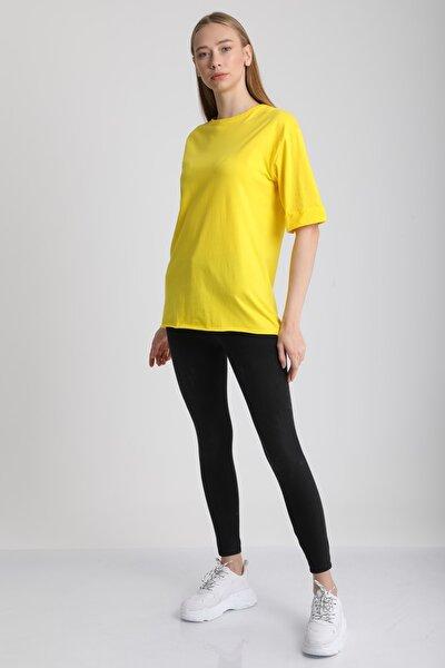 Kadın Sari Bisiklet Yaka Kol Katlı Pamuklu T-Shirt Mdt3058