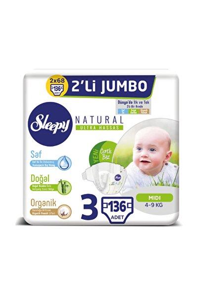 Natural Bebek Bezi 3 Beden Midi 2x2'li Jumbo 136 Adet