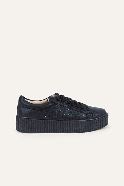 Kadın Siyah Kalın Tabanlı Sneaker 377917