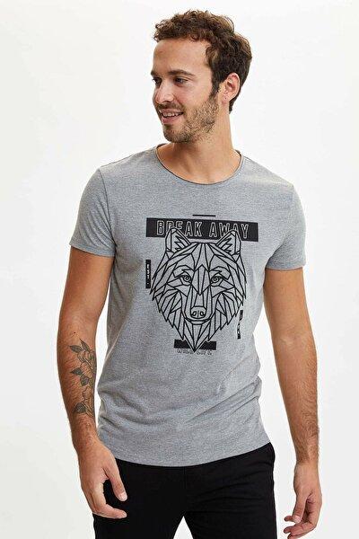 Erkek Gri Baskılı Extra Slim Fit T-Shirt N3442AZ.20SM.GR360