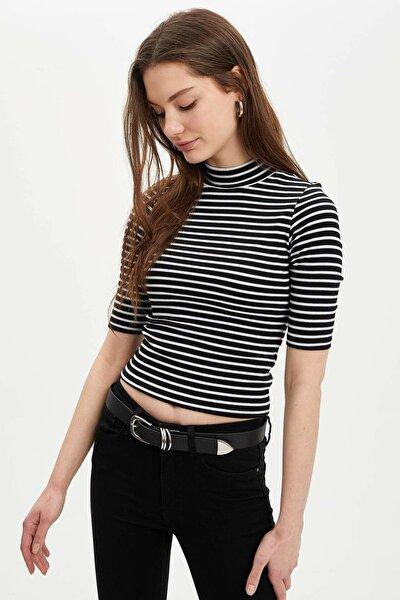 Kadın Beyaz Slim Fit Dik Yaka Çizgili Uzun Kollu T-Shirt N9538AZ.20SP.WT34