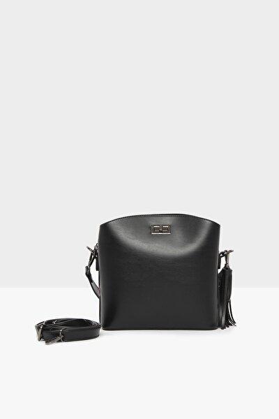 Siyah Kadın Kemerli Kilitli Mini İthal Çanta