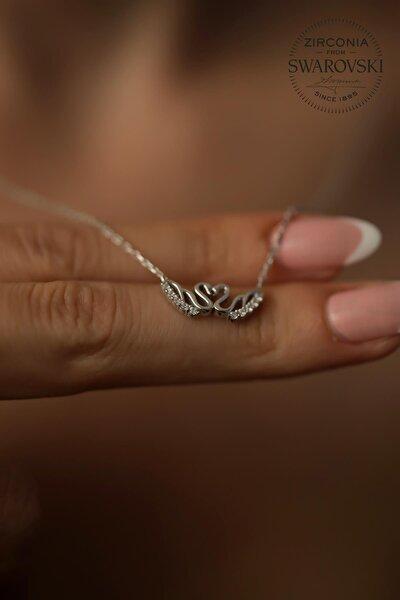 Kadın Swarovski Taşlı Swan Aşkı Model Gümüş Kolye PKT-SBS0416