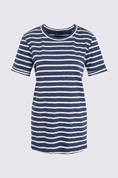 Kadın Mor Çizgili Kısa Kollu T-Shirt T41006637