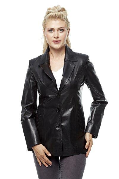 Kadın Blazer Siyah Deri Ceket 3226