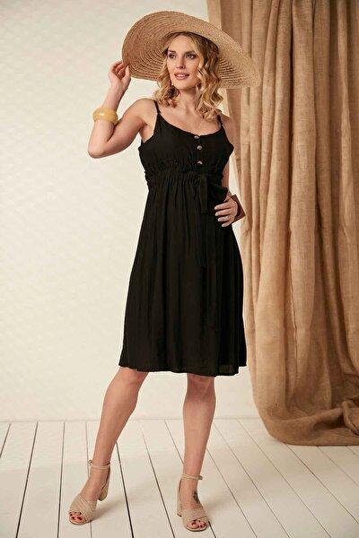 Kadın Gör&sin Bağcık Detaylı Askılı Siyah Hamile Elbise