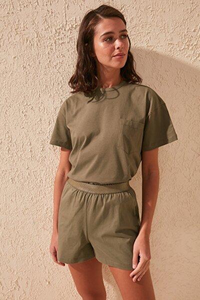 Haki Beli Lastik Detaylı Örme Pijama Takımı THMSS20PT0149