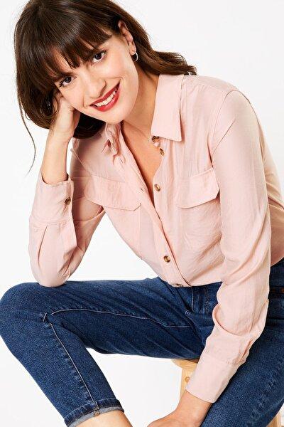 Kadın Pembe Düğme Detaylı Utility Gömlek T43002546