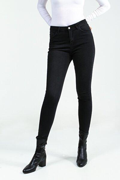 Sıyah Yüksek Bel Skinny Kadın Denim Pantolon