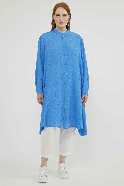 Kadın Büyük Beden Mavi Tunik 20Y159340251-004