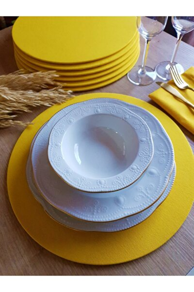 Kılıflı  Leke Tutmaz Sarı Amerikan Servis 6 Adet