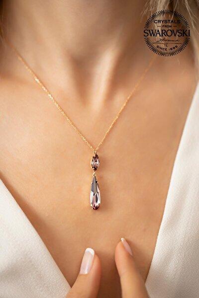 Kadın Swarovski Taşlı Mekik ve Damla Model Rose Kaplama Gümüş Kolye PKT-SBS0443