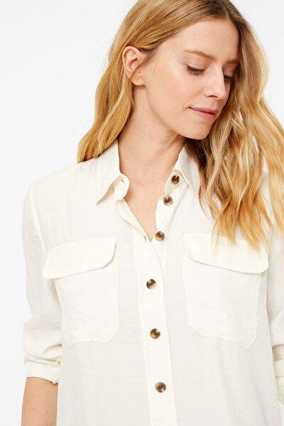 Kadın Bej Düğme Detaylı Utility Gömlek T43002546