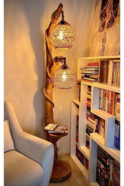 Ağaç Lambader Doğal Ağaç Yalıkavak Serisi 180 Cm Çift Küreli