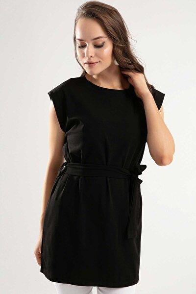 Kadın Omzu Patlı Kuşaklı Kısa Elbise Y20s110-4149