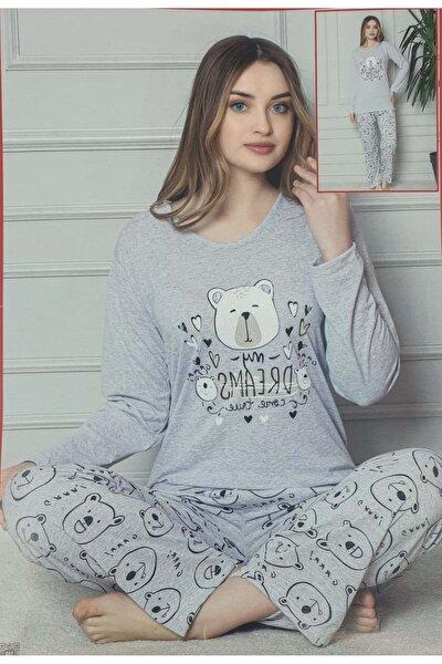 Kadın  Gri Penye Pijama Takımı