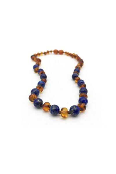Konyak Lapis Lazuli Kehribar Bebek Diş Kolyesi