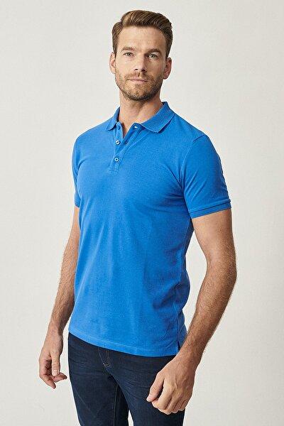 Erkek Royal Mavi Polo Yaka Cepsiz Slim Fit Dar Kesim %100 Koton Düz Tişört
